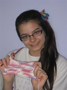 Me, with my dishcloth and my ponytail!